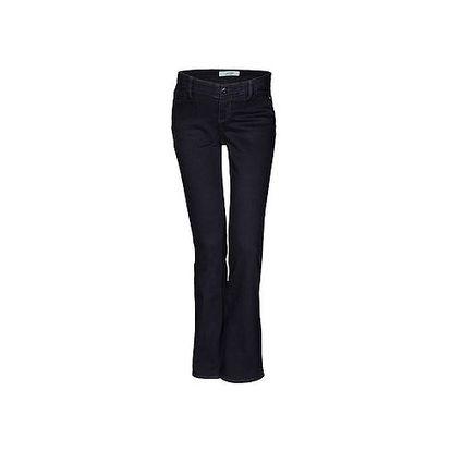 Tmavě modré džíny dole rozšířené, pod břicho