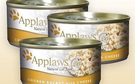 Applaws konzervy pro kočky kuřecí prsa a sýr, 3 x 156 g
