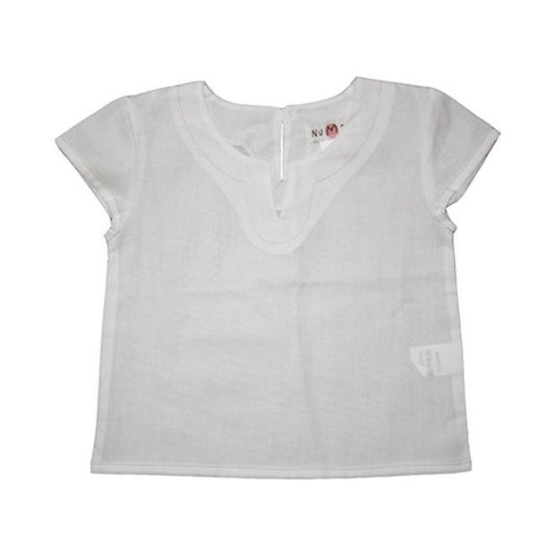 Bílé triko, volánkový rukáv