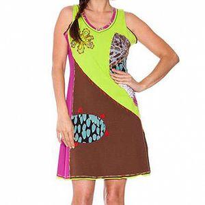 Dámske hnedo-zelené šaty s aplikáciami Sandalo