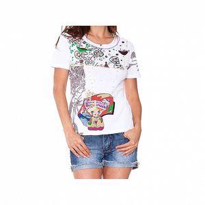 Dámske biele tričko s potlačou dievčatka Sandalo
