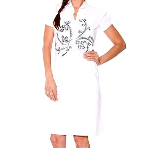 Dámske biele šaty Sandalo s čiernou výšivkou
