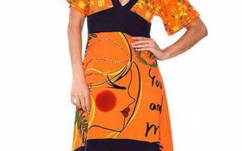 Dámske oranžovo-čierne šaty Sandalo