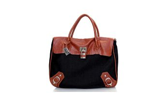 Dámská černá kabelka s hnědými koženými detaily Sandalo