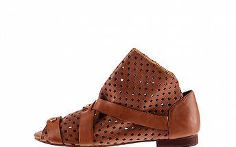 Dámske hnedé kožené sandále Sandálo s perforáciou
