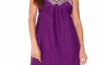 Dámske fialové hodvábne šaty Sandalo