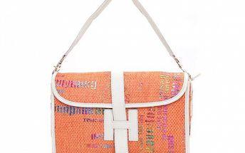 Dámska oranžová kabelka s grafickou potlačou Sandalo