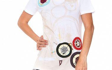 Dámské bílé triko s potiskem s kolovými aplikacemi Sandalo