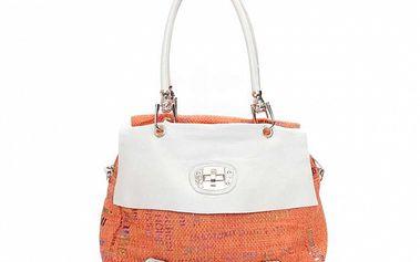 Dámska oranžovo-biela kabelka so zámočkom Sandalo
