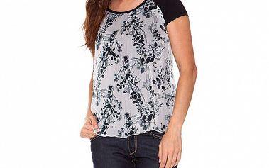 Dámske čierno-biele dvojvrstvové tričko s potlačou Sandalo