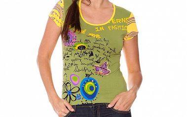 Dámske zeleno-žlté tričko s aplikáciami Sandalo
