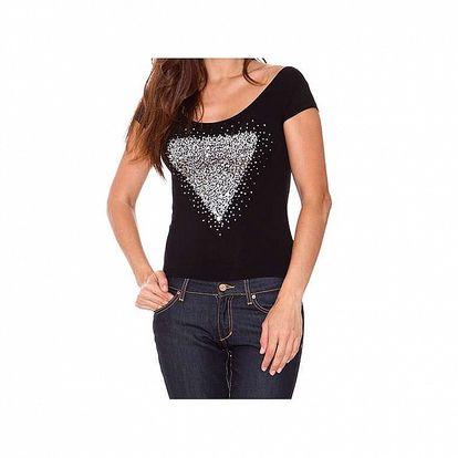Dámske čierne tričko s lesklou aplikáciou Sandalo
