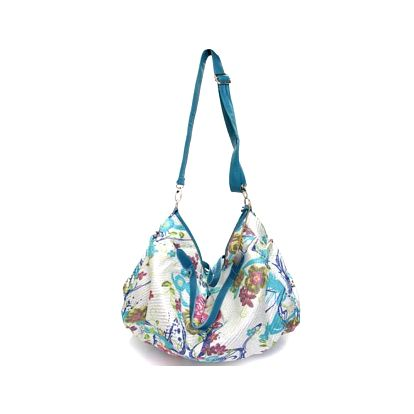 Dámska modro-biela kabelka s kvetinovou potlačou Sandalo