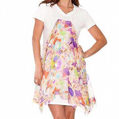 Dámske biele šaty Sandalo s hodvábnou zásterkou