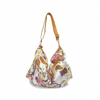Dámska horčicovo-biela kabelka s kvetinovou potlačou Sandalo