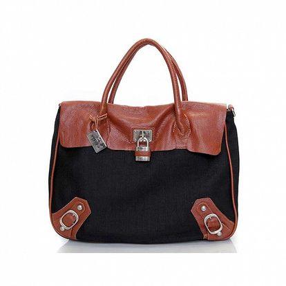 Dámska čierna kabelka s hnedými koženými detailmi Sandalo