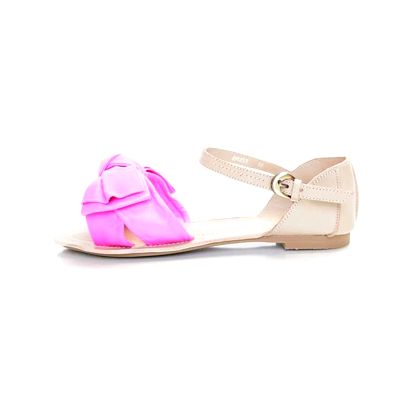 Dámske svetlo béžové kožené sandále Sandalo s ružovými pásikmi