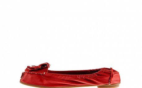 Dámské červené kožené baleríny Sandalo