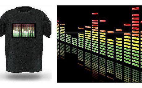 Tričko s LED ekvalizérem za senzační cenu! Tričko reaguje na zvuk z okolí! Staňte se hvězdou každé párty! Tohle nikdo nemá!