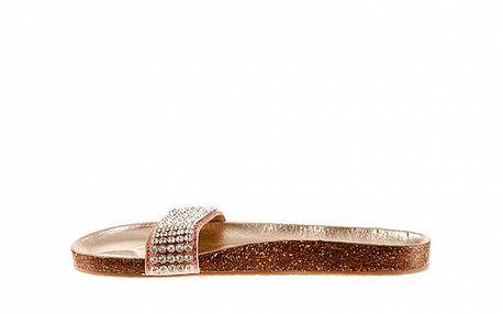 Dámské růžové kožené pantofle Sandalo s kamínky