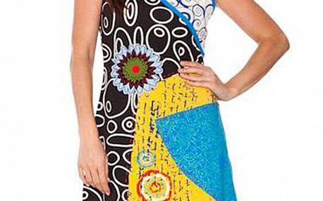 Dámske čierno-tyrkysové šaty s grafickou potlačou Sandalo