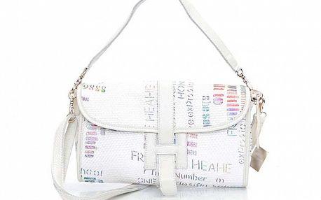 Dámska biela kabelka s grafickou potlačou Sandalo