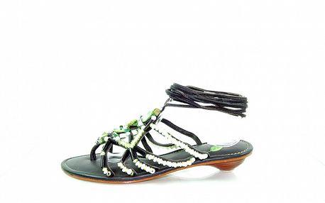 Dámske tmavo zelené kožené sandále Sandalo s korálkami