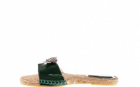 Dámske tmavo zelené lakované šľapky Sandalo so slamenou stielkou