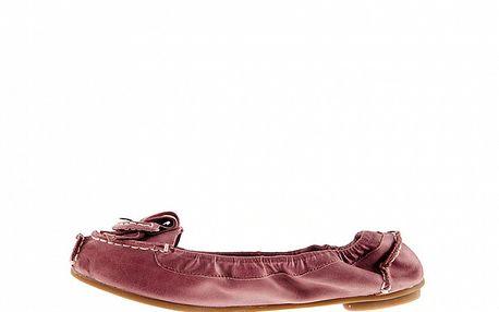 Dámské růžové kožené baleríny Sandalo