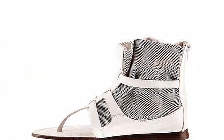 Dámske biele kožené sandále Sandalo
