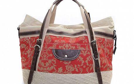 Dámska červeno-béžová kabelka s popruhmi Sandalo