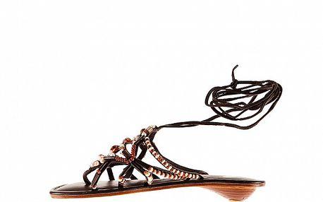 Dámske hnedé kožené sandále Sandalo s korálkami
