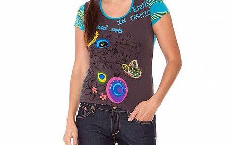 Dámske šedo-tyrkysové tričko s aplikáciami Sandalo
