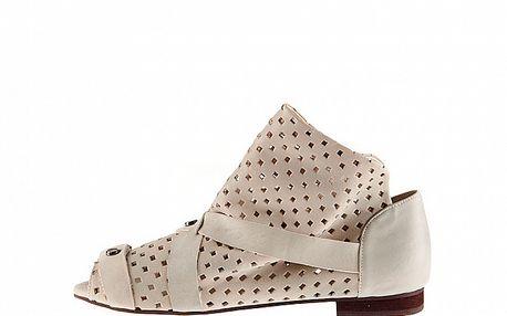 Dámske biele kožené sandále Sandálo s perforáciou