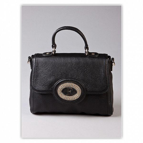 Dámska čierna kufríková kabelka Ferré Milano s kovovým logom