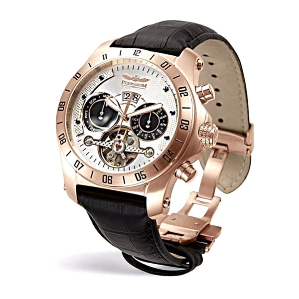 Pánské hodinky Perigaum Transatlantic černé kožený pásek