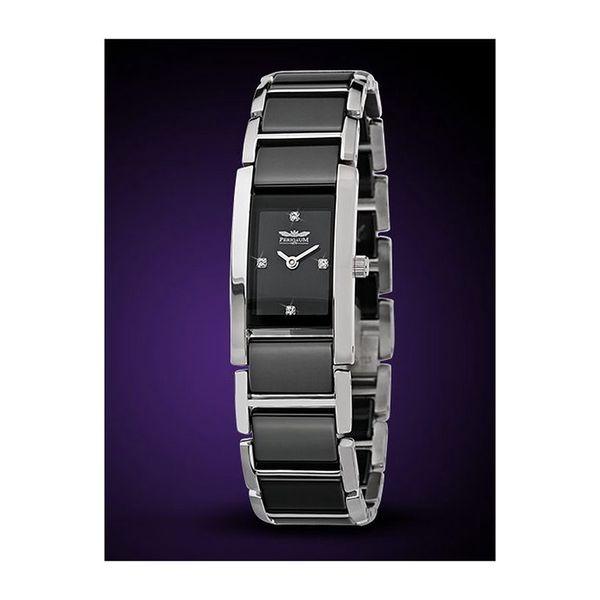 Dámské hodinky Perigaum Ceramica černo-stříbrné