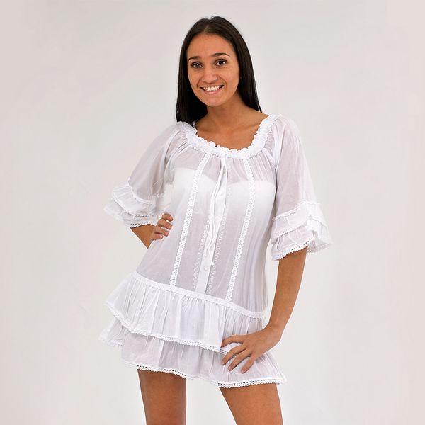 Dámská tunika Ibiza Style bílá krátký rukáv