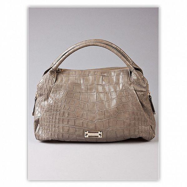 Dámská světle šedá kabelka s krokodýlím vzorem Ferré Milano