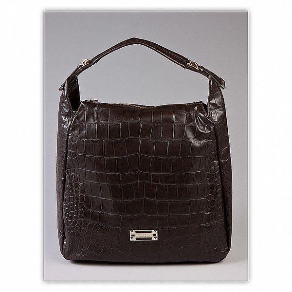Dámska tmavo hnedá kabelka s krokodýlim vzorom Ferré Milano