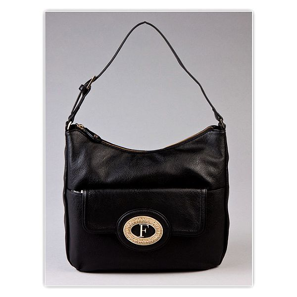 Dámská černá kabelka s kovovým monogramem Ferré Milano