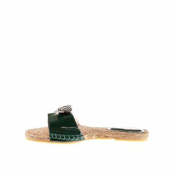 Dámské tmavě zelené lakované pantofle Sandalo se slaměnou stélkou