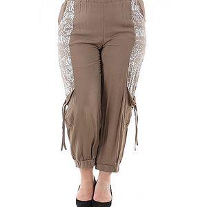 Béžovo-bílé kalhoty Rozi