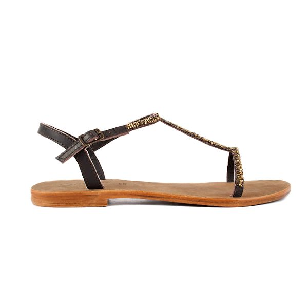 Dámské hnědé kožené sandály Gardini se zlatými korálky