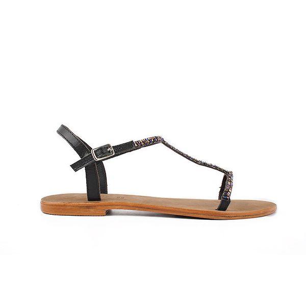 Dámske čierne kožené sandále Gardini s farebnými korálkami