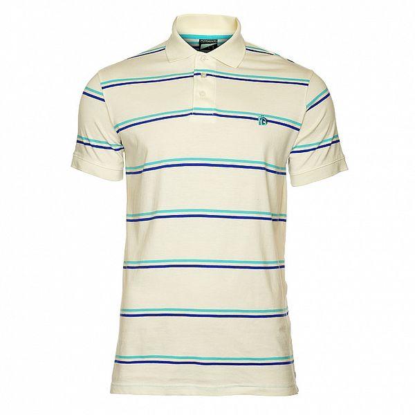 Pánske biele tričko s modrými pruhmi Fundango
