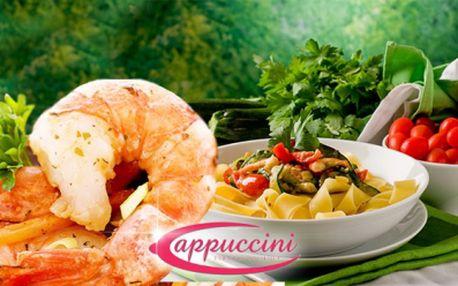 Luxusní italské MENU za 164 Kč! Jako předkrm 3ks smažených TYGŘÍCH KREVET podávané s Aioli omáčkou a jako hlavní chod 350g těstovin PAPPARDELE s restovaným kuřecím masem, chřestem, houbami a sušenými rajčaty!