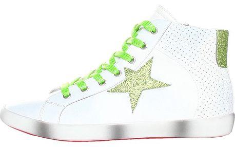 Dámske biele tenisky so zelenou hviezdou Ana Lublin