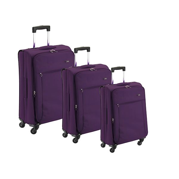 Set tří fialových látkových kufrů na kolečkách Valisa