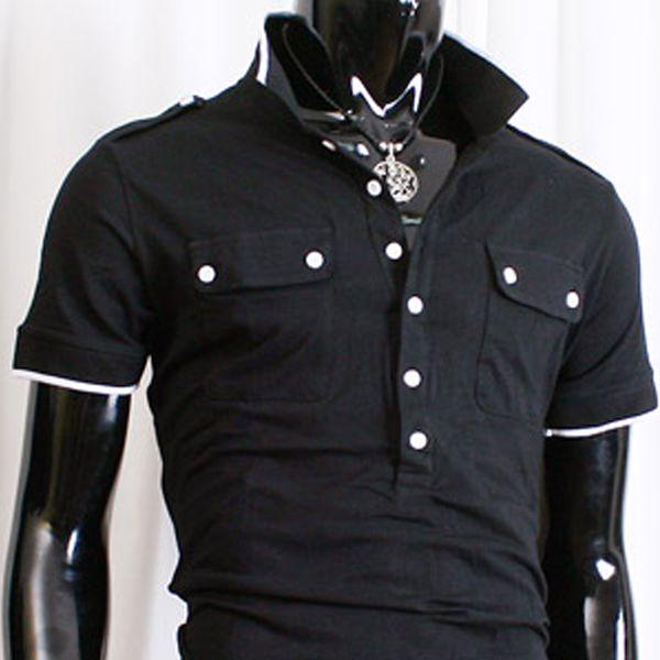Pánské polo triko Doublju černé bílý lem